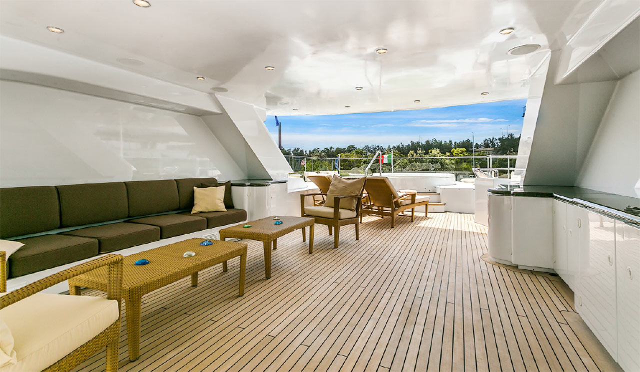 Sofas on motor yacht deck